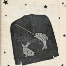 Knit O Graf 229 Slipover Knitting Pattern Boys' Teen Sizes 12 14 16 fishing theme graph
