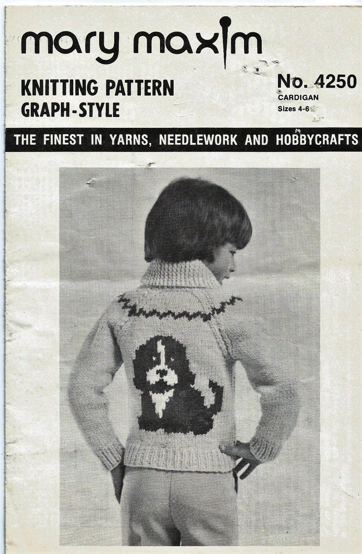 Mary Maxim 4250 4 Ply Cardigan  Puppy Graph Style Knitting Pattern Child Sizes 4 & 6