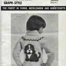 Mary Maxim 4250 4 Ply Cardigan  Puppy Graph Style Knitting Pattern Child Sizes 4 & 6