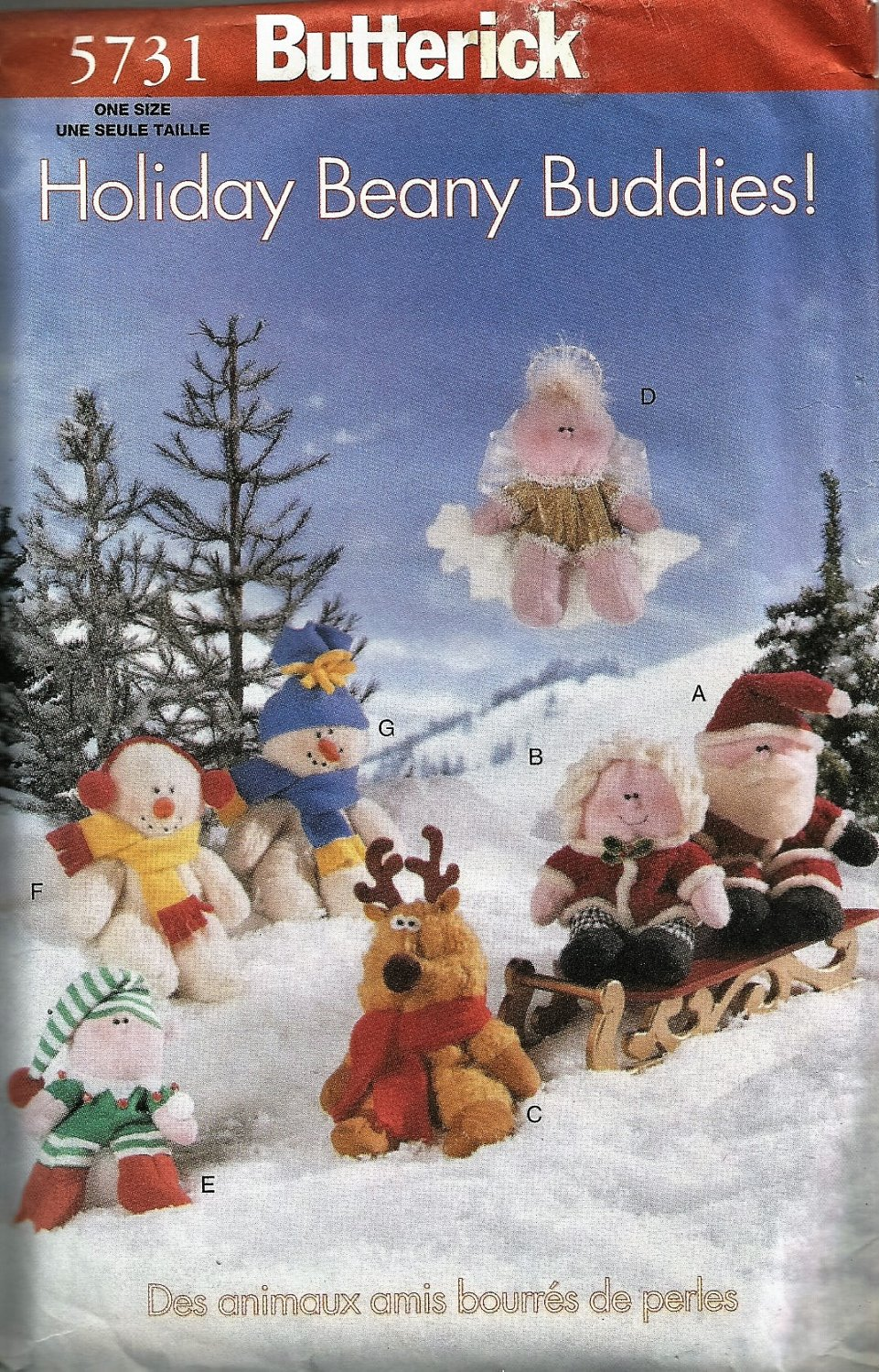 Butterick 5731 Holiday Beany Buddies Sewing Pattern 7 dolls