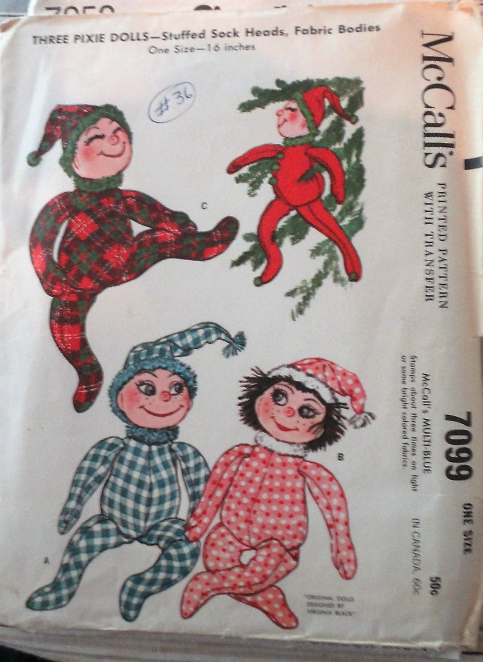 Vintage McCall's  7099 Pixie Sock Dolls 1963 original sewing pattern