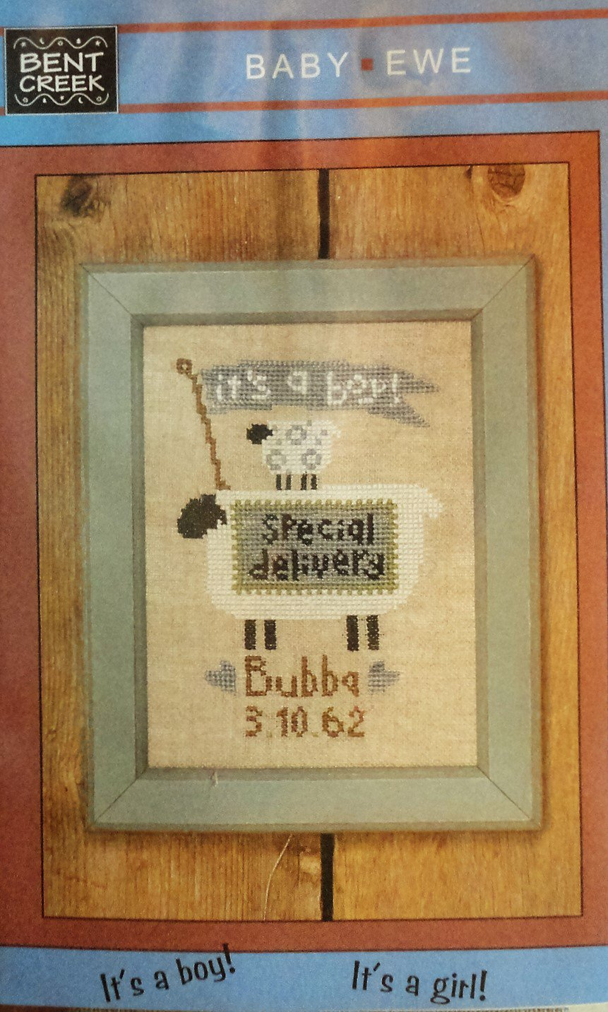 "Bent Creek Baby Announcement Cross Stitch KIT includes cloth and thread ""Baby Ewe"""