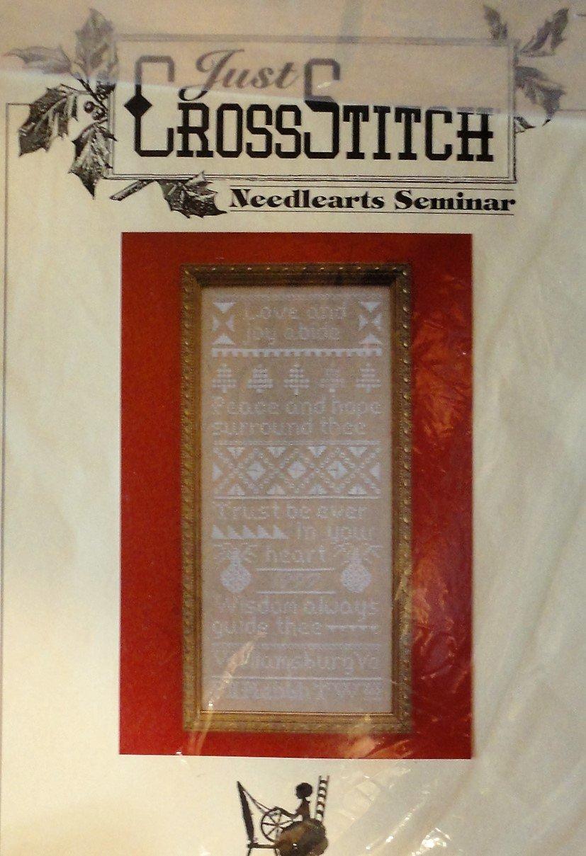 Just Cross Stitch KIT includes cloth thread Love and Joy Abide  Needlearts Seminar Sampler