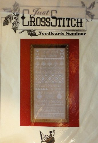 Just Cross Stitch KIT includes cloth thread Love and Joy Abide  Needlearts Seminar Sampler