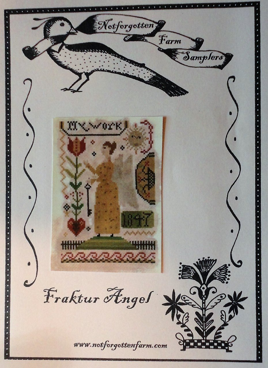 NOT FORGOTTEN FARM Fraktur Angel Primitive Sampler Cross Stitch Chart