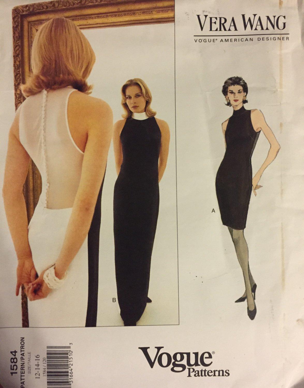 Vogue American Designer Vera Wang  Dress Uncut Sewing Pattern 1584 Size 12 14 16