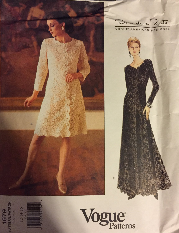 Vogue American Designer Oscar De La Renta  Dress Uncut Sewing Pattern  Size 12 14 16
