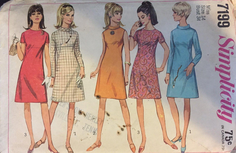Simplicity 7199 A-Line Retro Dress Pattern Size 14 Bust 34