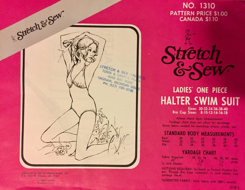 Vintage 1970s Halter Swim Suit Pattern 1310 by Ann Person 70s Bathing Suit Size 30 32 34 36 38 40