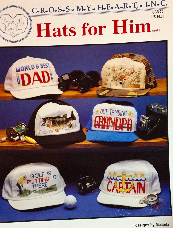 Hats for Him Cross Stitch Pattern Cross my Heart CSB-70 Baseball Caps