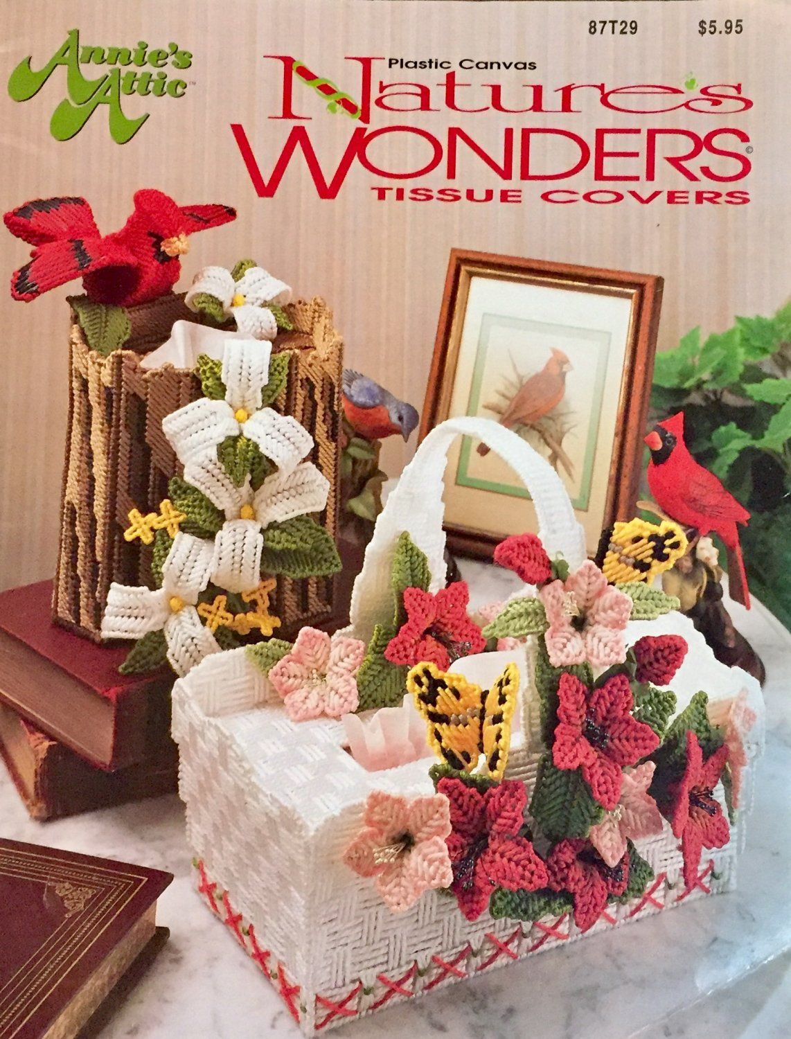 Nature's Wonders Tissue Covers In Plastic Canvas Pattern Annie's Attic 87T29 Tissue Box Covers
