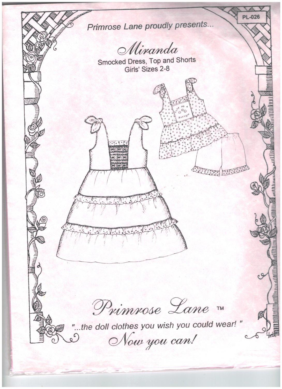 Miranda Smocked Dress Top Shorts Primrose Lane Sewing Pattern Sizes 2 - 8