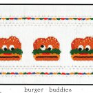 Burger Buddies Little Memories Smocking Plate Hamburgers #046 Sewing Smocking design
