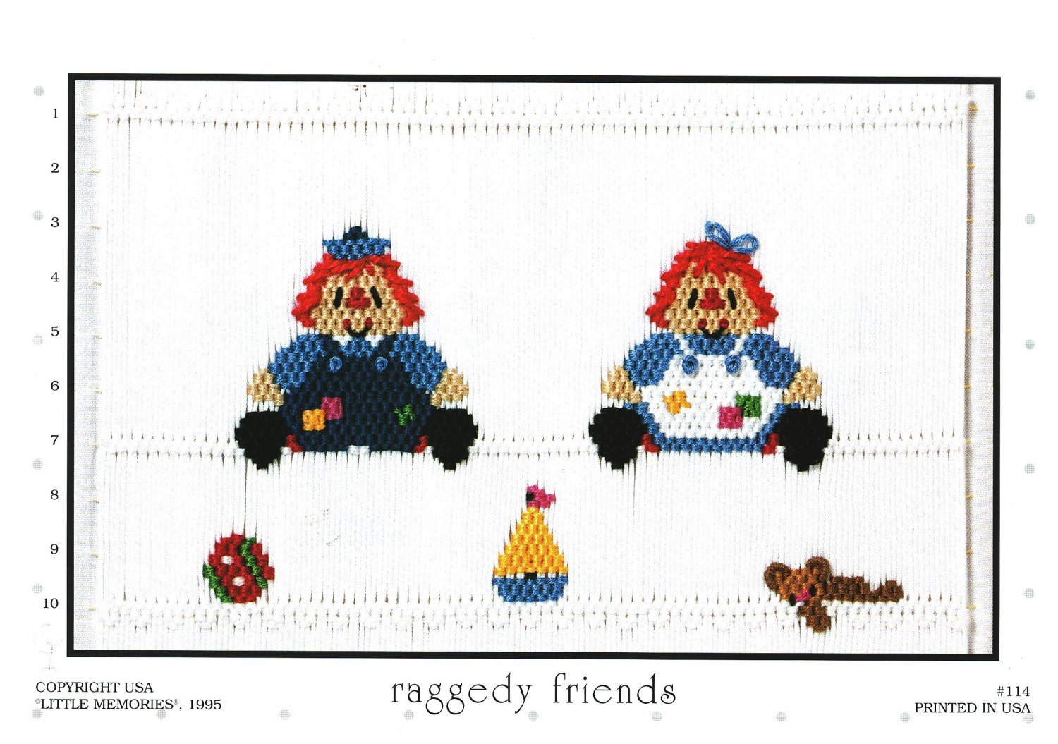 Raggedy Friends Little Memories Smocking Plate Raggedy Ann and Andy #114 Sewing Smocking design