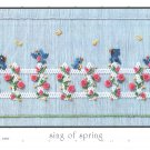 Signs of Spring Little Memories Smocking Plate Bluebirds and Roses #134 Sewing Smocking design
