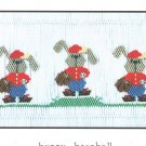 Bunny Baseball  Little Memories Smocking  #033 Sewing Smocking design