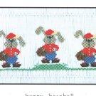 Bunny Baseball  Little Memories Smocking  #033 Sewing Smocking design