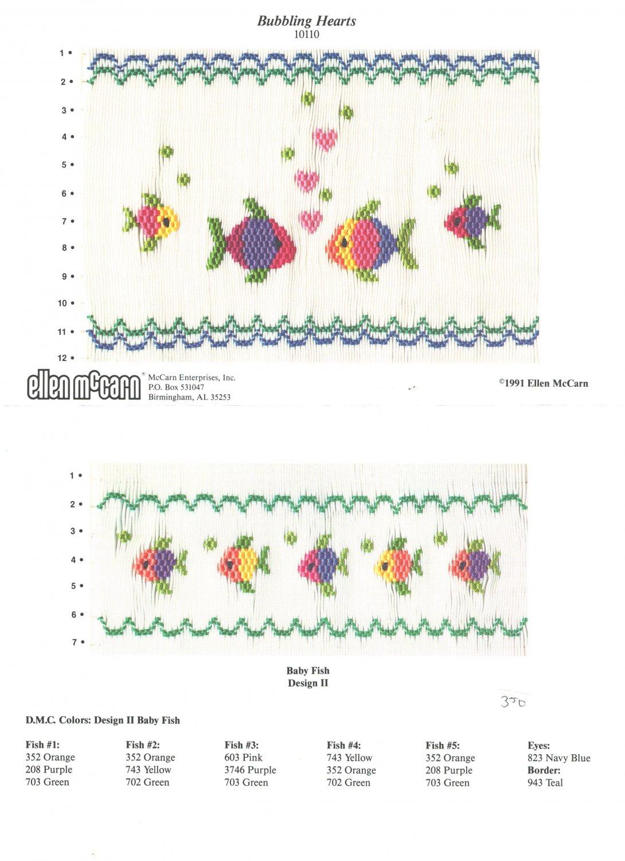 Bubbling Hearts Ellen McCarn Smocking Plate Fish #10110 Sewing Smocking design