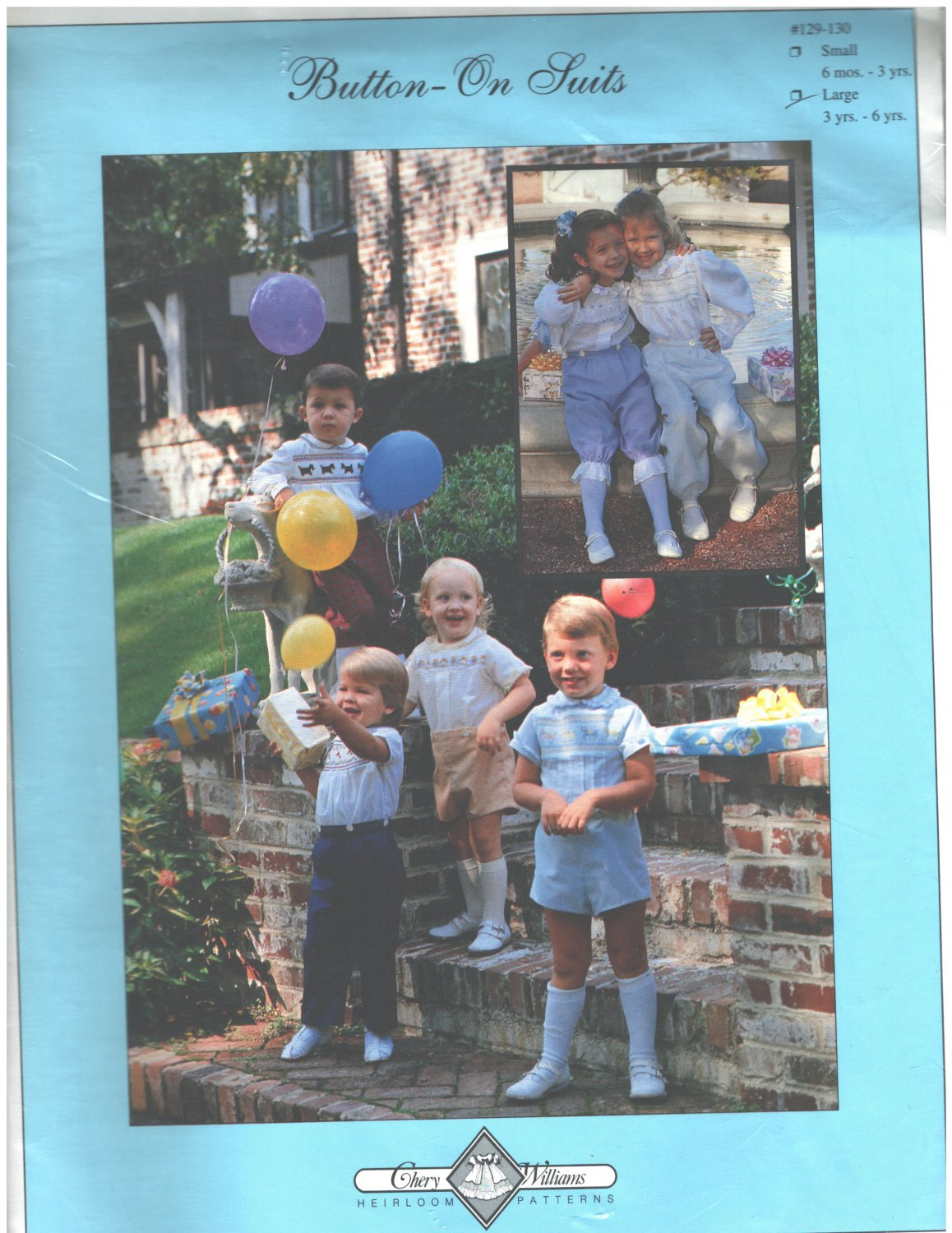 Button-On Suits Sewing Pattern Chery Williams Size 3-6 years