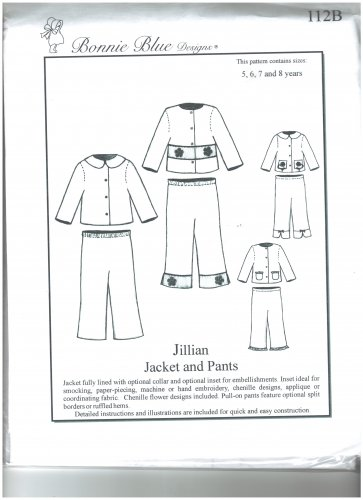 Jillian Jacket and Pants Bonnie Blue Designs 112B Sizes 5 - 8 years