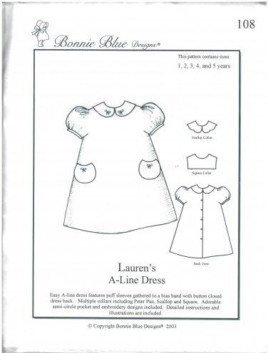 Lauren's A-Line Dress Bonnie Blue Designs 108 Sizes 1-5 years