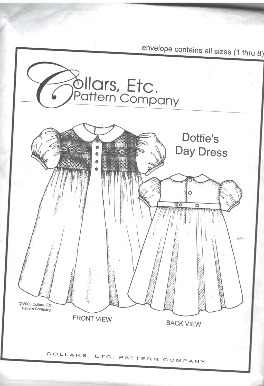 Dottie's Day Dress  Collars, etc.  Pattern Company  sizes 1 - 8  smocking  SOLD OUT