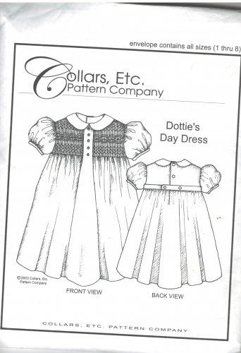 Dottie's Day Dress  Collars, etc.  Pattern Company  sizes 1 - 8  smocking