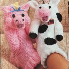 Silly Sox, Annie's Attic Crochet Child & Adult Animal Slippers Pattern Booklet 87S80