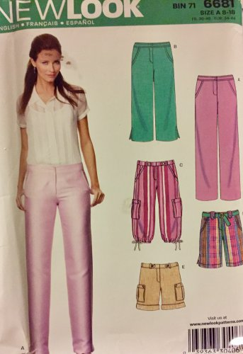 New look Pattern 6681 Pants Knicker Shorts capris Sewing Pattern size 8-18 uncut