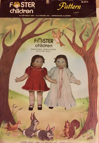 """Foster Children Doll Clothing Nightgown Robe Dress 1983 Elf Patterns sewing pattern 26"""" Doll size"""