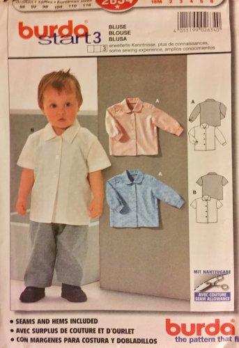 Burda 2634 Vintage Pattern Toddler Shirt or Blouse Size 18 mts, 2,3,4,5,6 UNCUT