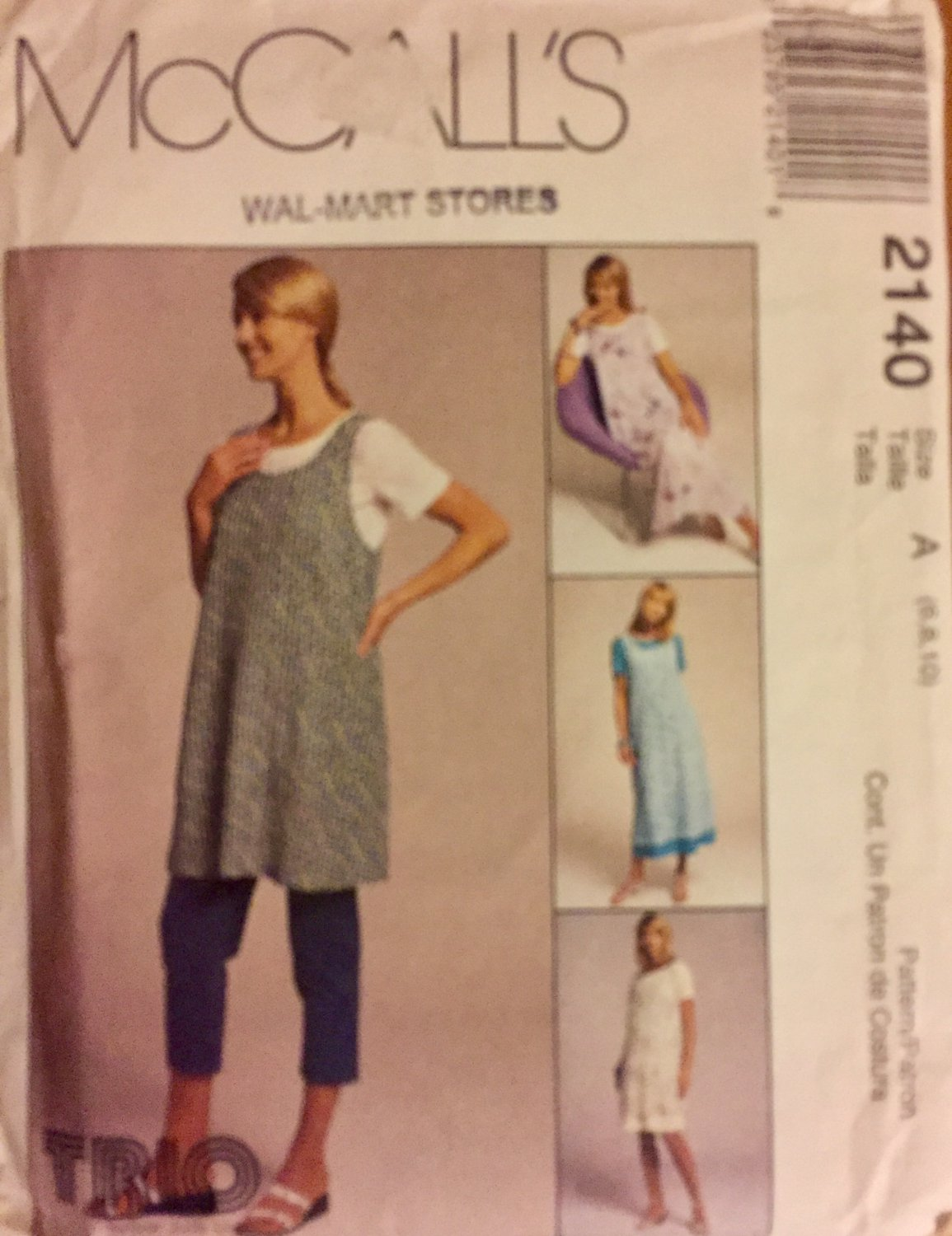 McCall's 2140 Maternity Dress Pattern Jumper Pattern Pull-on Pants Misses 6 8 10