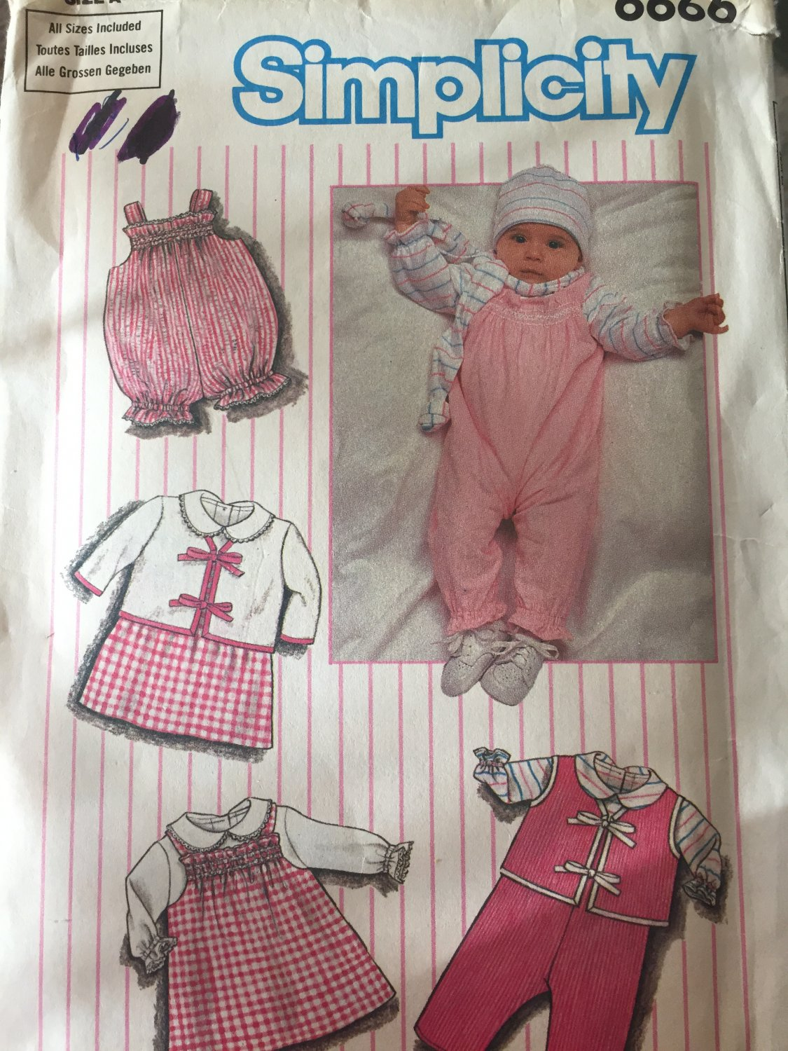 Simplicity Sewing Pattern 6666 baby dress jumper  romper overalls Sizes NB - 18 Months UNCUT
