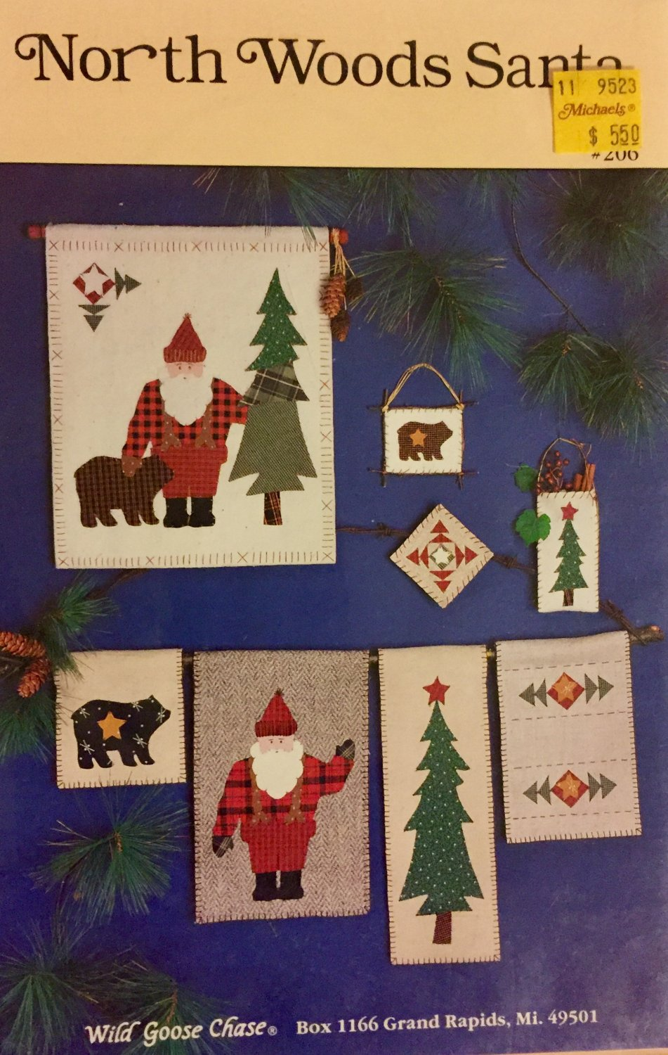 North Woods Santa No Sew Pattern Applique Wall Hanging and Ornaments