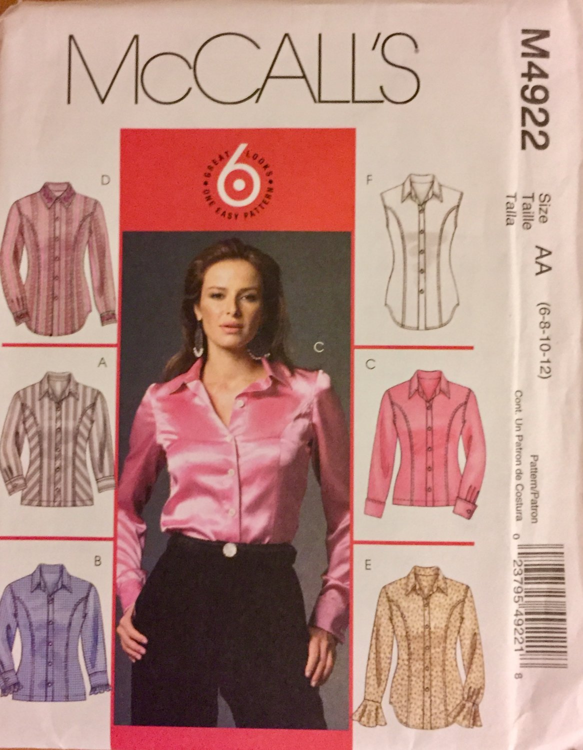 McCall's 4922 Size 6, 8, 10, 12 Women's sewing pattern:  Blouse shirt 6 great looks SOLD OUT
