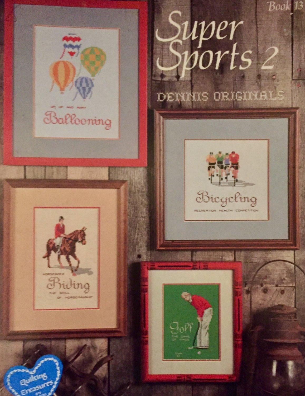 Super Sports 2 Cross Stitch Charts Dennis Originals Book 13 Ballooning Sky-Diving Bicycling