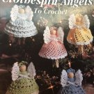 Christmas Clothespin Angels, Leisure Arts Crochet Angel Ornaments Pattern Booklet 2518