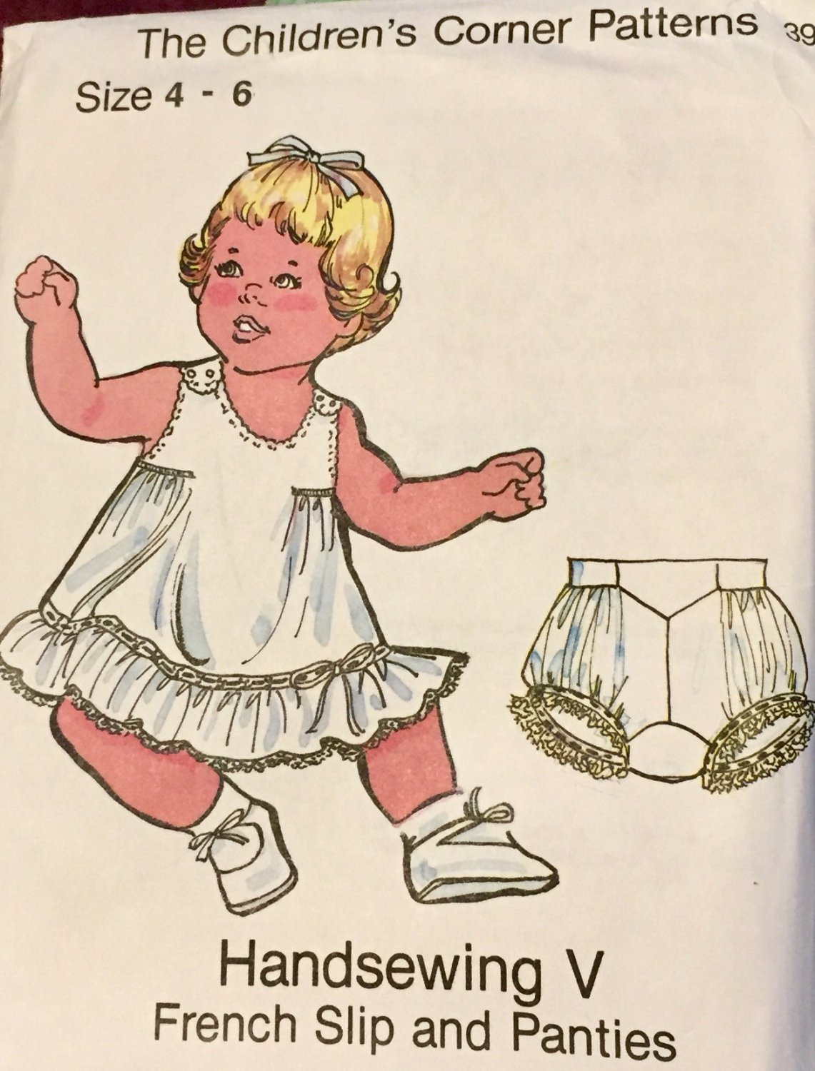 Childrens Corner Handsewing V French Slip and Panties Sewing Pattern size 4 - 6