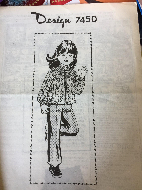 VINTAGE Mail Order Pattern 7450 Child's Crochet Jacket Pineapple pattern