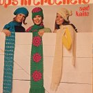 TOPS IN Crochet Pattern for scarfs, caps, hats Columbia Minerva 2518 1970's