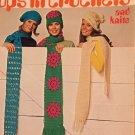 TOPS IN Crochet Pattern for scarfs, caps, hats Columbia Minerva 2518 1970's
