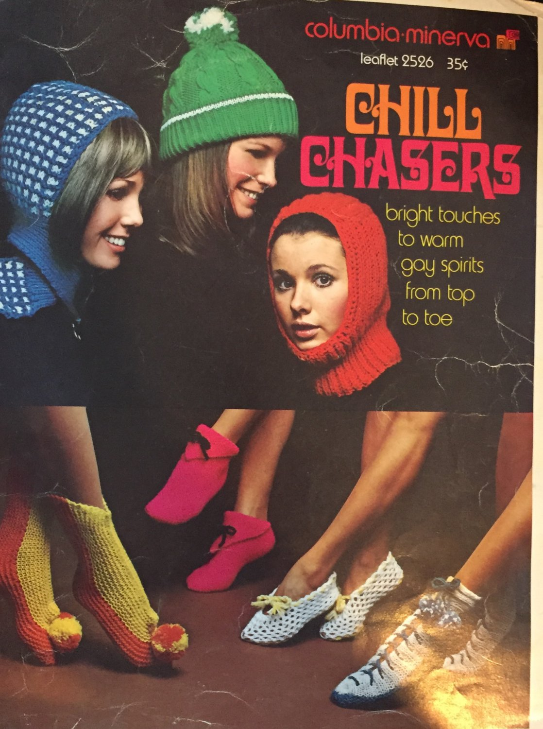 Chill Chasers hats scarves mittens slippers Columbia Minerva 2526 1970's Knitting & crochet patterns