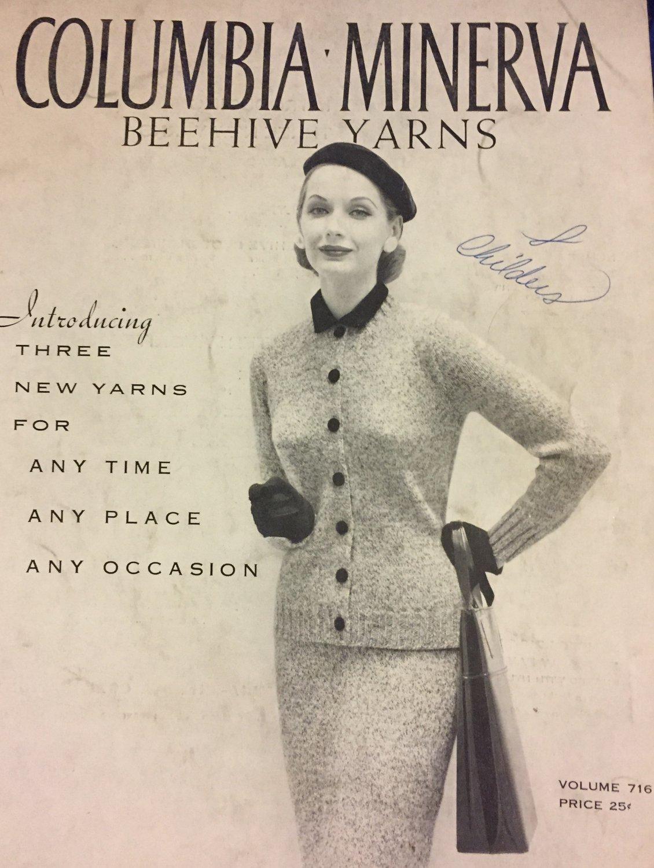 Vintage Knitting Pattern Columbia Minerva Beehive Yarns Volume 716