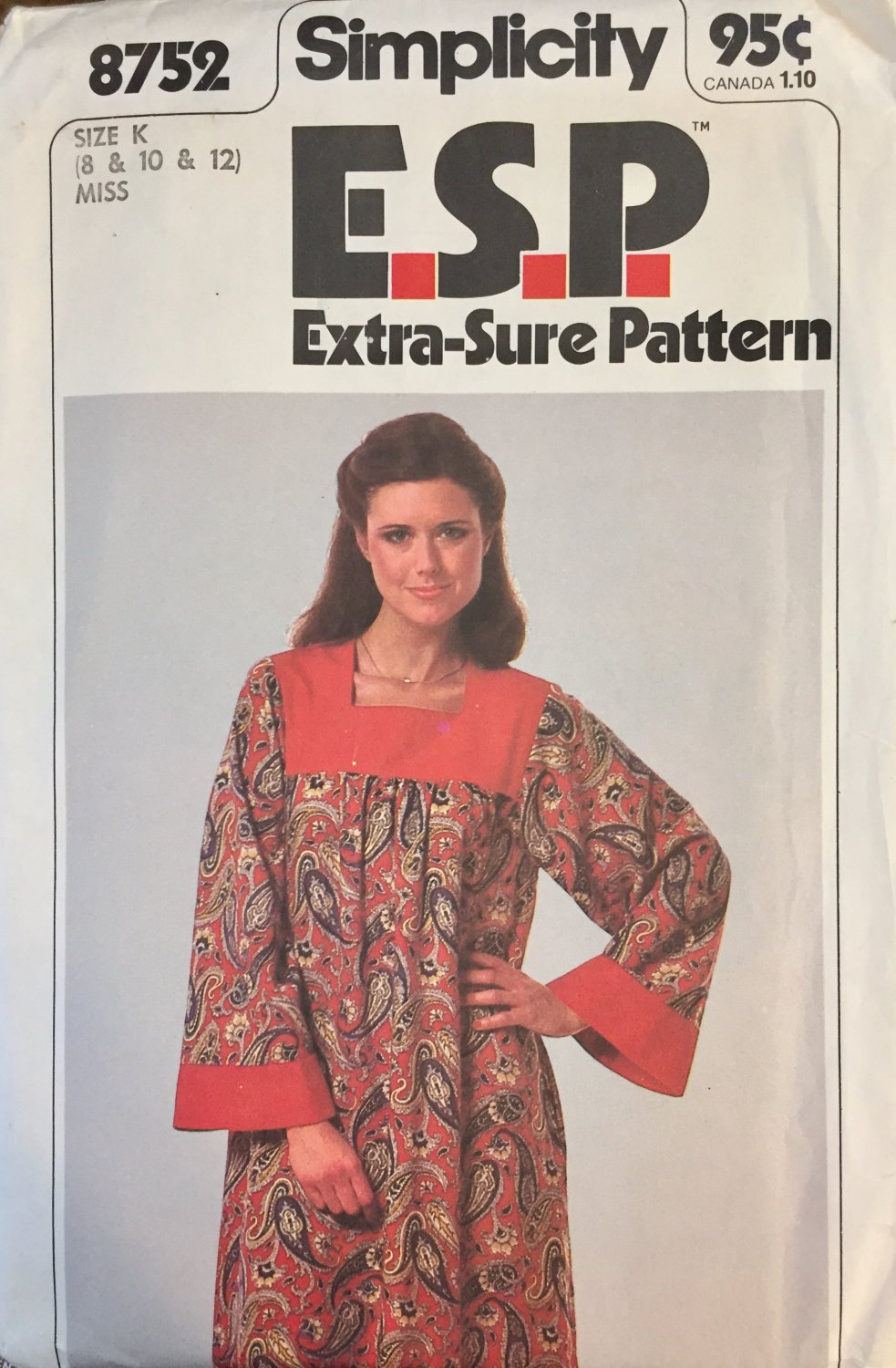Vintage Simplicity Extra-Sure Pattern 8752  Misses  Caftan with Contrasting Yoke sizes 8 - 12