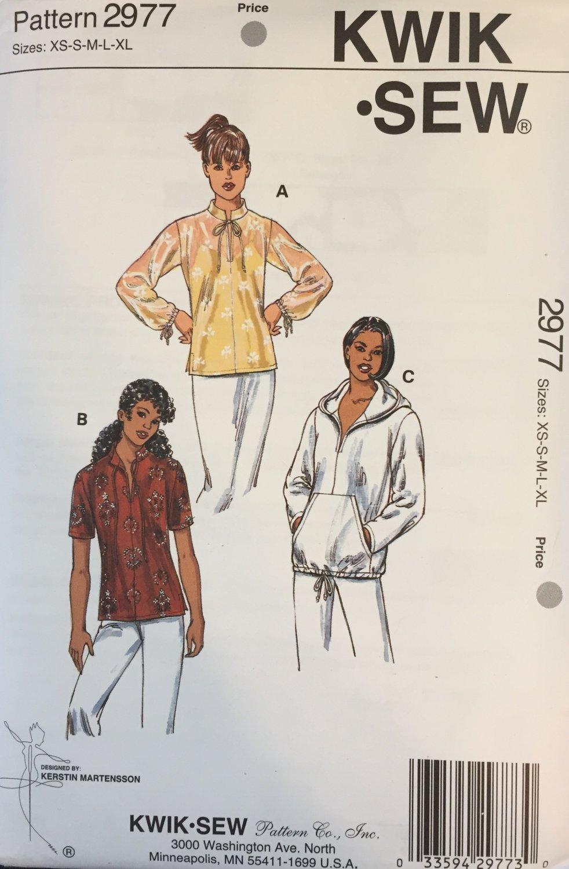 Kwik Sew Sewing Pattern 2977 Misses Womens Jacket Top Blouse Hoodie XS - XL