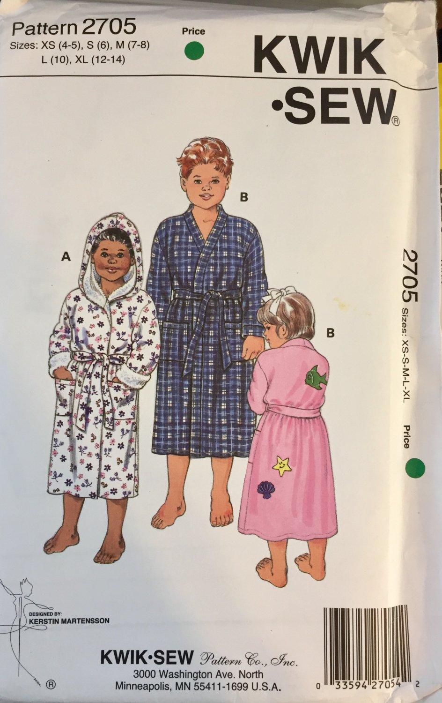 Kwik Sew 2705 Boys and Girls Wrap Around Robes sizez 4-14  Hooded