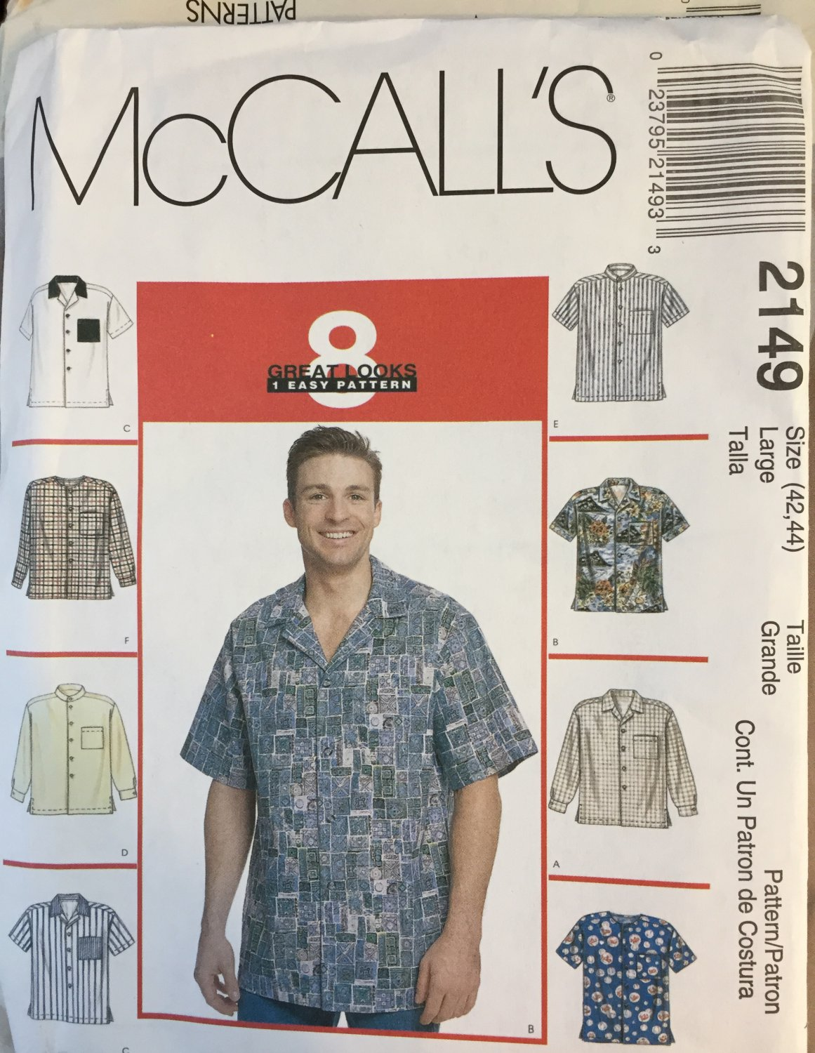 Men's Shirt Sewing pattern McCall's 2149 Sewing Pattern Men's Button-Down Shirts size 42 44