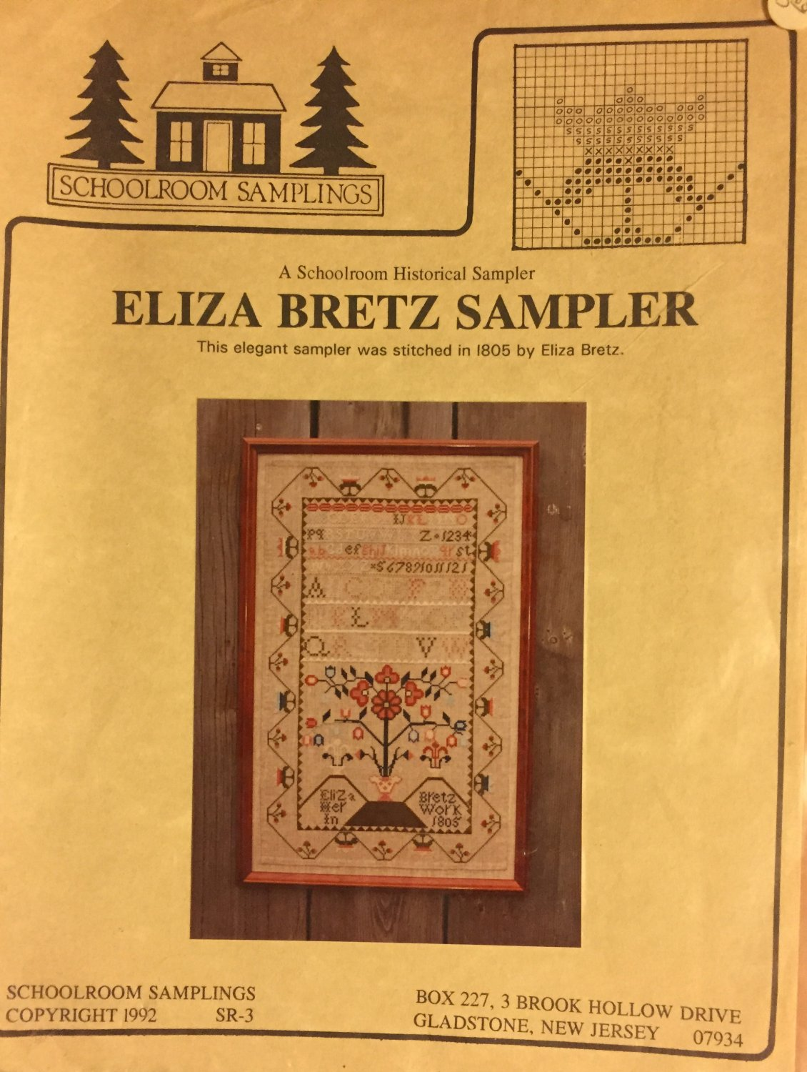 Historical Sampler Cross Stitch chart Schoolroom Samplings Eliza Bretz 1805