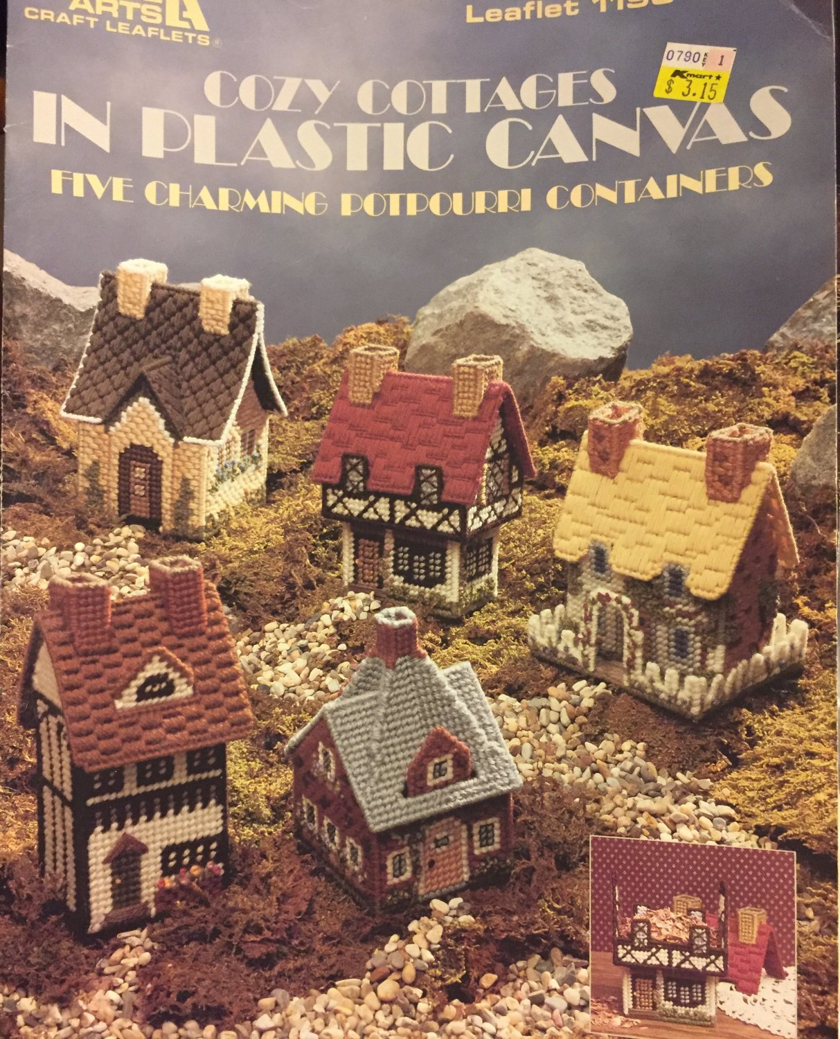 Leisure Arts 1190 Cozy Cottages Plastic Canvas Pattern 5 Containers Half Timbered Elizabethan