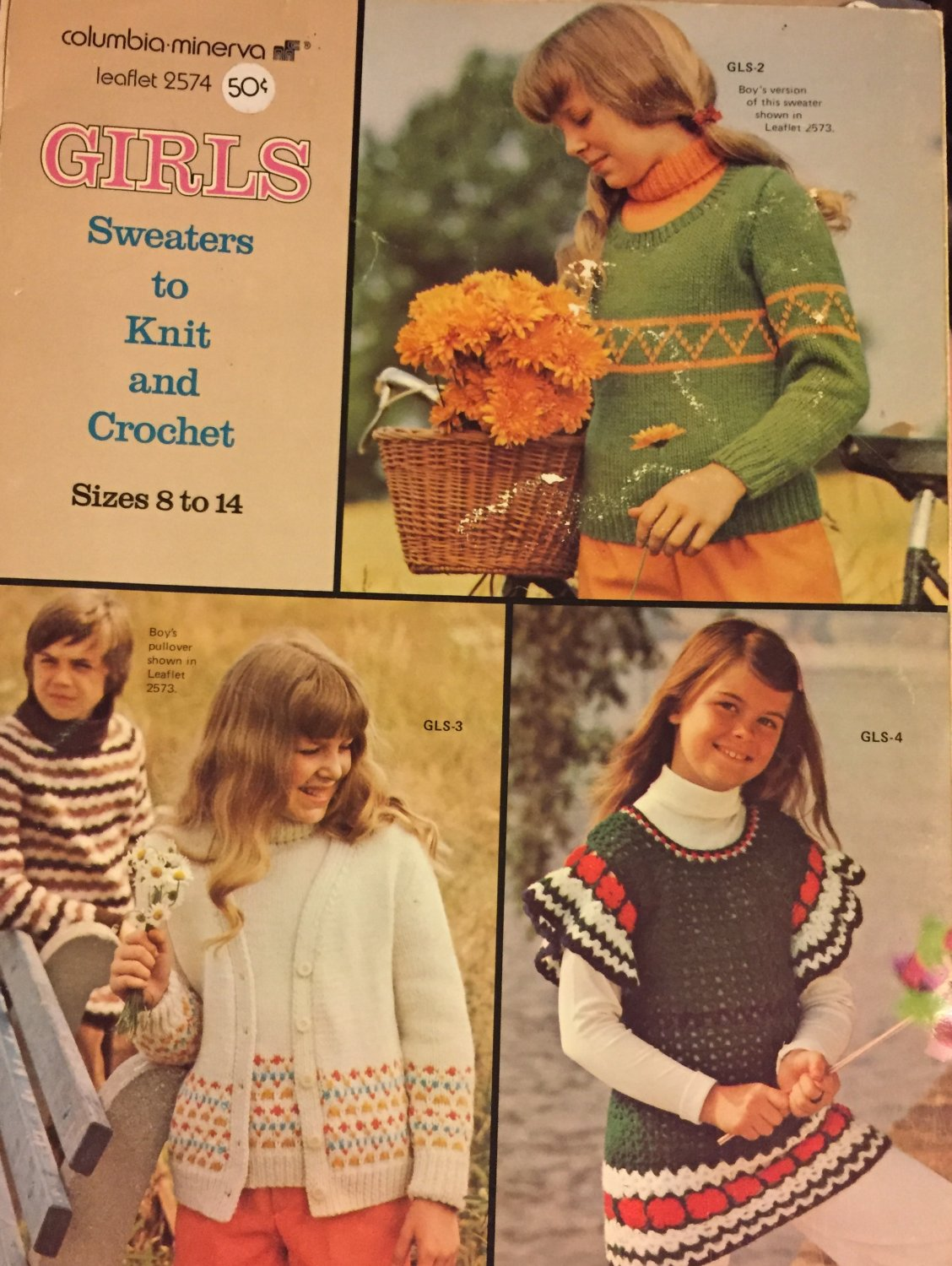 Girls Sweaters to Knit and Crochet sizes 8 - 14  Columbia Minerva 2574